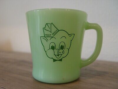 Vintage Jadite Fire-King PIGGLY WIGGLY GROCERY STORE Advertising Coffee Mug
