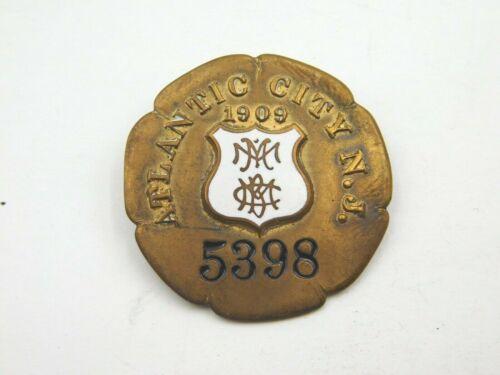 Rare Antique 1909 Atlantic City N.J. Cabby Badge / Medal 5398