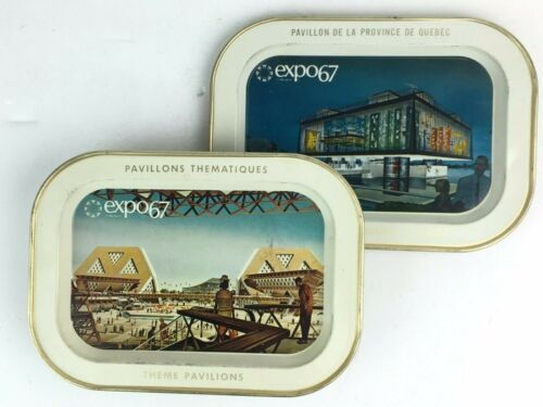 Two Vintage Expo 67 Trays, Pavillons Thematiques, Pavilion Province of Quebec