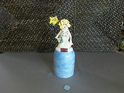 Decorative piggy bank vacation fund jar woman figurine colorful design