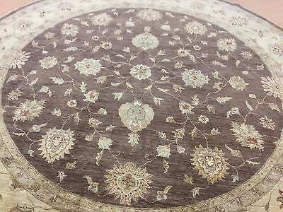 (12 X 12 Brown Beige Round Ziegler Persian Oriental Area Rug Hand Knotted Foyer)