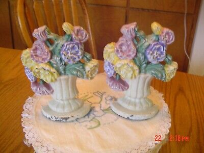 """Antique Cast Iron Potted Flowers Bookends/ Doorstop/Paperweight 5"""" Tall"""