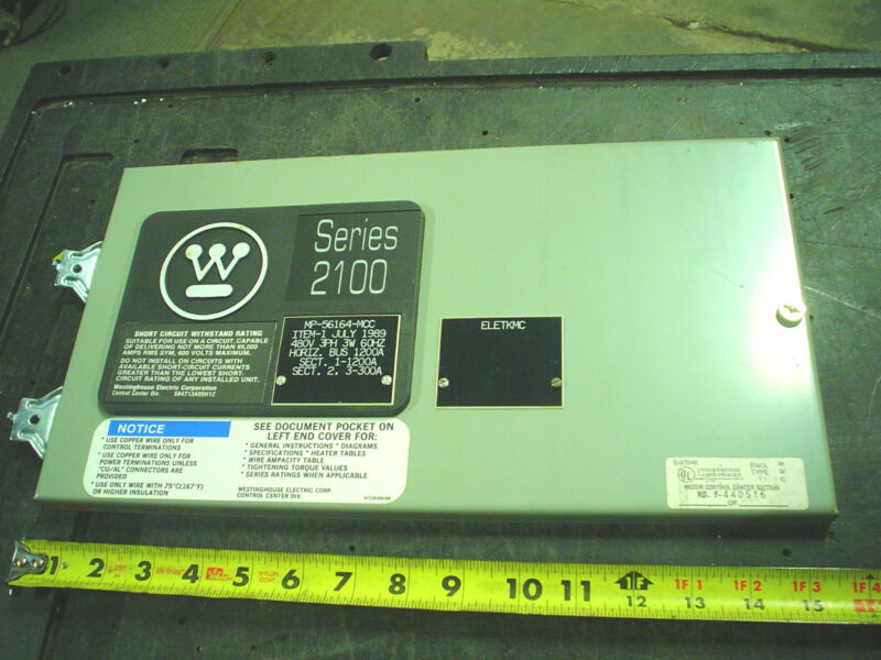"Westinghouse 2100 MCC Bucket Door 8-1/2"" Tall x 15-1/2"" Motor Control Center"