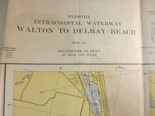 US Coast & Geodetic Survey Chart  Florida Intracoastal Waterway Delray Bch 1954