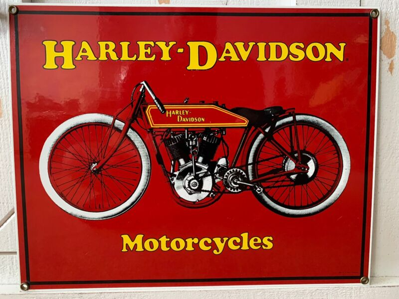 "Antique HARLEY MOTORCYCLE 14"" X 11"" PORCELAIN METAL Red 1914 Board Track SIGN"