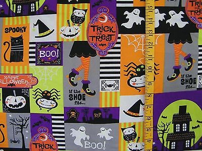 HAPPY HALLOWEEN TRICK OR TREAT PATCH SPIDERS 100% COTTON FABRIC BY THE 1/2 YARD