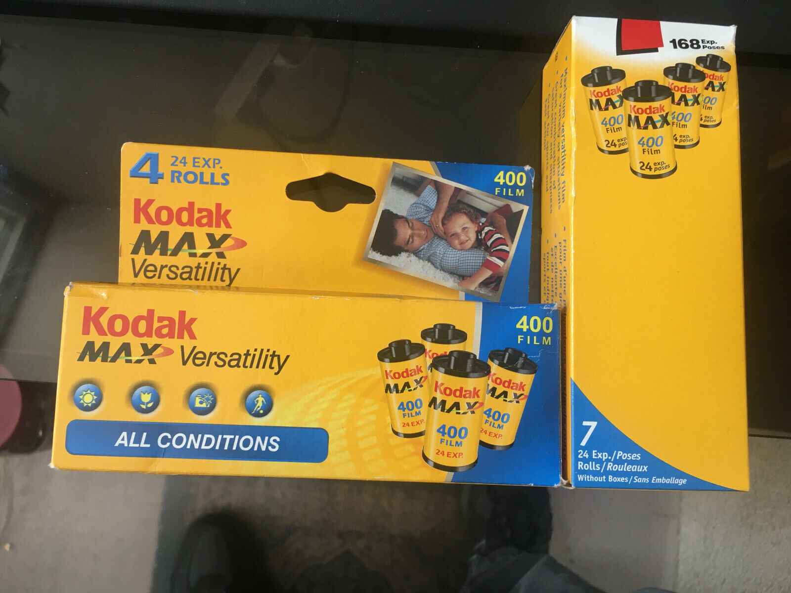 TWO BOXES, CONTAINING 11 7 4 ROLLS OF KODAK MAX 400 FILM, 24 EXPOSURE, EXPIRED  - $22.50