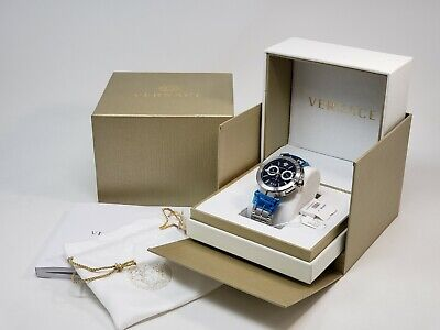 Versace Watch Mens Chronograph Vebr00818 Aion Stainless Steel Wrist Band New