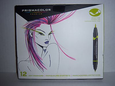 Prismacolor Premier Color Art Markers 12 Pack Brush/Fine Primary/Secondary-NEW