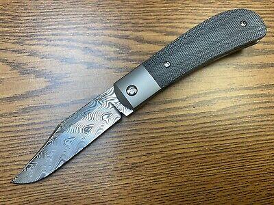 "Pena Knives X-Series Lanny's Clip Knife Black Micarta (3.15"" Gysinge Damasteel)"