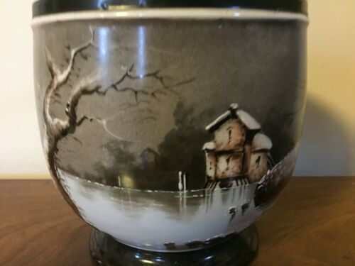 Antique 19th c Paris Porcelain Cachepot Planter Jardiniere Vase Urn Winter Scene