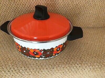 VINTAGE Pan Casserole 1960 1970 floral  Orange retro flowery  Kitchenalia BNWT