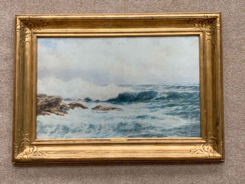 Newcomb Macklin Picture Frame Henry N Cady Marine Watercolor Painting Coastal