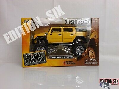 Jada High Profile 1:24 HUMMER H2 Kmc Wheels New Boxed Lifted Truck Yellow