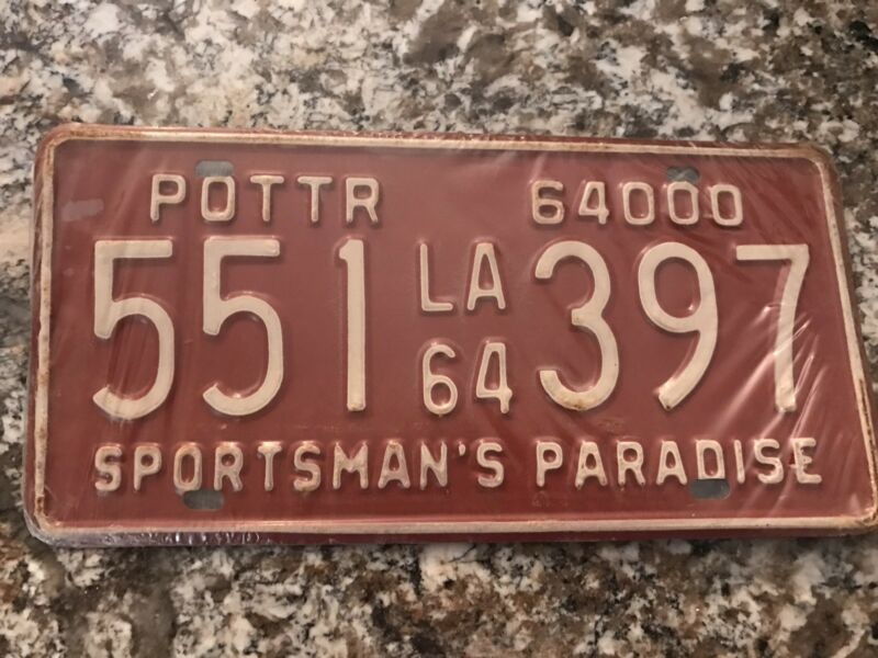 1964 Louisiana License Plate 551 397