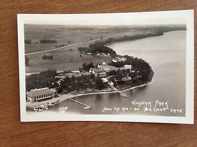 Big Spirit Lake, Ia., Iowa TEMPLAR PARK FROM THE AIR  RPPC