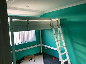 Double loft bed frame IKEA White