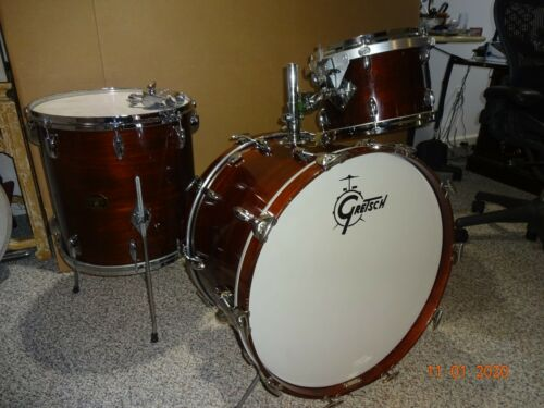 1972 VINTAGE GRETSCH DRUM SET WALNUT 6 PLY MAPLE ULTRA THIN SHELLS 22/16/13 NICE