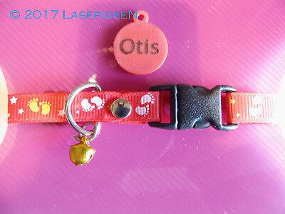 Katzen Tier Halsband mit Namensschild lasergarviert *RED FEET*