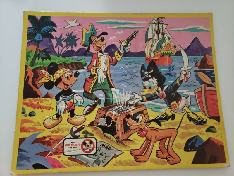 Vintage 1962 Mickey Mouse Club Jaymar Inlaid Jigsaw Puzzle Mickey Goofy Pirates