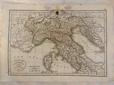 Italie Septentrionale, Northern Italy, 1833 Copperplate Engraved Map