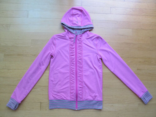Ivivva Lululemon Gray Pink Striped & Pink Reversible Zip Up Hoodie, Size 12