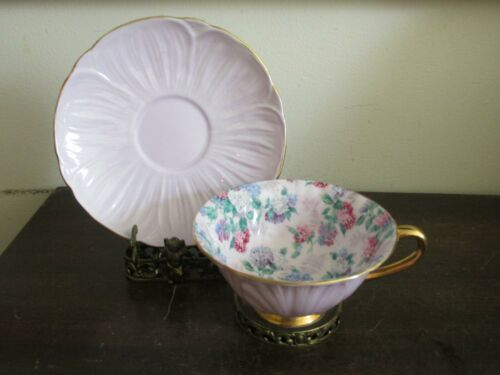 Shelley Bone China England Chintz Oleander Summer Glory Tea Cup And Saucer Pink