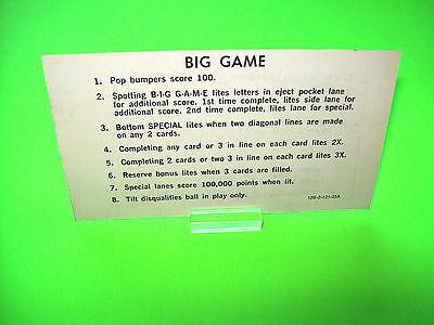 Stern BIG GAME 1980 Original Flipper Pinball Machine Instruction Card 2-Sided