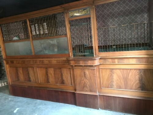 Antique Walnut Tellers Cage ~ Bank Interior ~ 12 feet long ~ Glass & Grill 1747