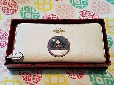 NIB New Disney X Coach Minnie Mouse Slim Accordion Zip Wallet in Chalk