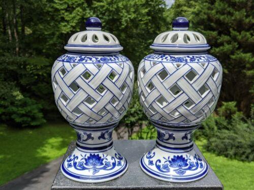 Pair Bombay Chinese Cobalt Blue & White Pierced Porcelain Candle Holder Lanterns