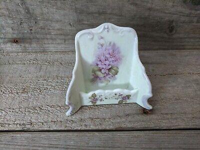 Vintage Porcelain Hand Painted Floral Business Card Holder Purple Flowers