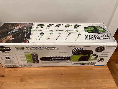 Greenworks 40V 16-Inch Cordless Lithium-Ion Brushless Chainsaw, 4.0 AH Battery I