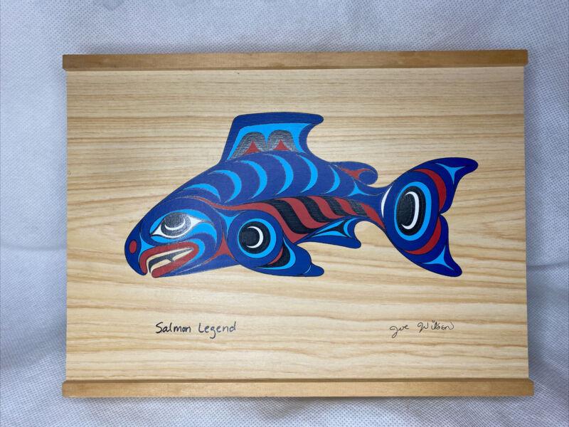 Joe Wilson SALMON LEGEND Northwest Native Cowichan Artist Lid & base Wooden Box