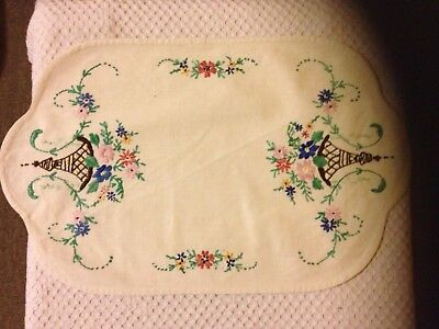 Vintage Embroidered Dressing Table/Tray Cloth - Cotton