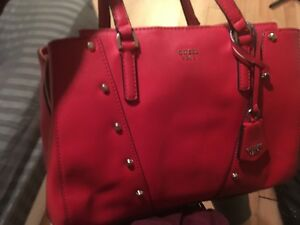 Red guess purse & wallet, and burgundy Garage parka