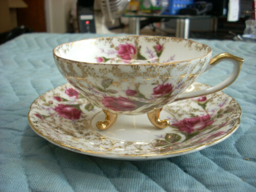 ORIGINAL VINTAGE NAPCO HAND PAINTED FROM JAPAN ROSESw/GOLD TEA CUP & SAUCER(RH)