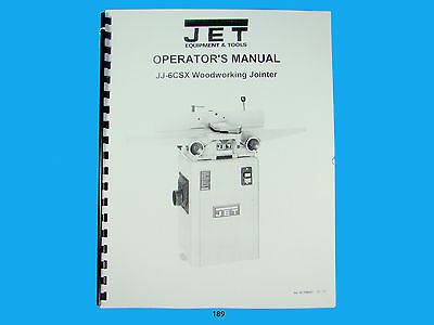 Jet  Jj-6csx Woodworking Jointer Owners Manual 189