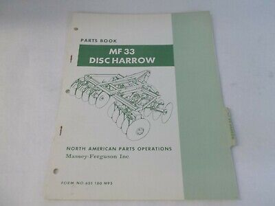 Massey Ferguson Mf33 Disc Harrow Parts Book