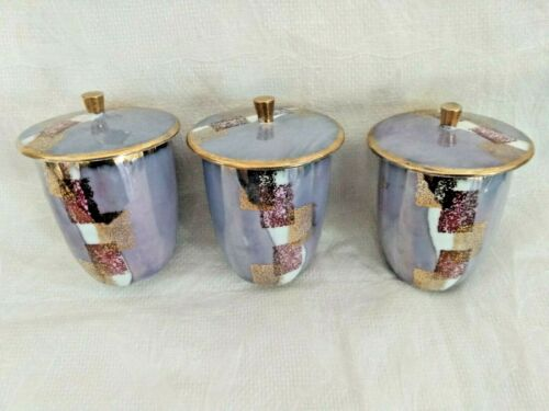 Porcelain fine china Tea Sake Cup Lid gold lilac kitchen bar ware retro Zen GUC