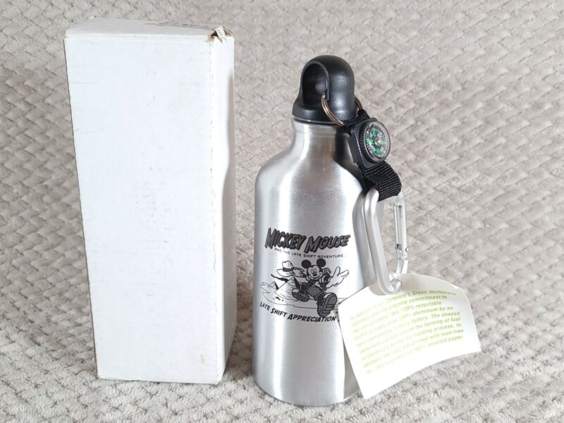 Mickey Mouse Recyclable Aluminum Water Bottle W Compass 3rd shift 2008 Cast Gift
