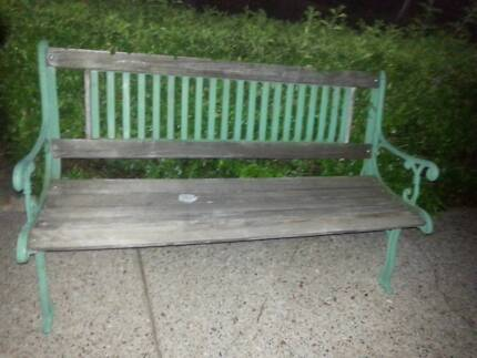 LARGE WROUGHT IRON GARDEN BENCH WITH TIMBER SEAT G.C