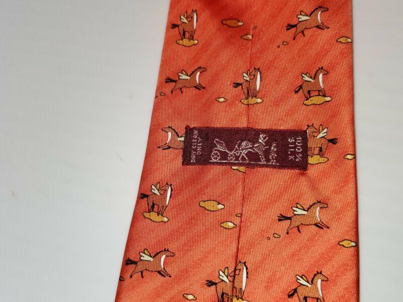 Hermes of Paris Pegasus Orange Tie.RARE HTF