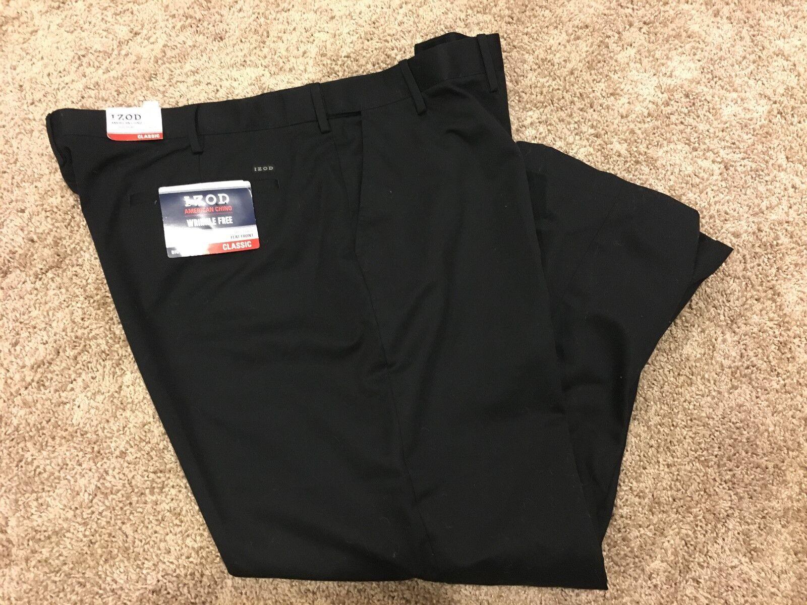 NWT IZOD American Chino Classic-Fit Khaki Double Pleat BIG/&Tall 36X36 MSRP $75