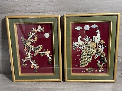 VTG Asian Shell Art Mother of Pearl 3D Shadow Box Birds , peacocks & Flowers