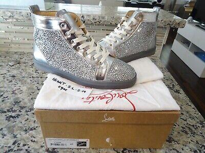 CHRISTIAN LOUBOUTIN Louis Flat Nappa Swarovski SILVER Sneaker SZ 41 US 8 $2995.0