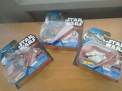 3 X Star Wars Hot Wheels die-cast models, TIE FIGHTER, GHOST, REPUBLIC GUNSHIP.