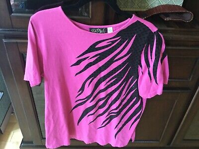 Bob Mackie Zebra Print & Sequin T-Shirt Size L pink A2699 -