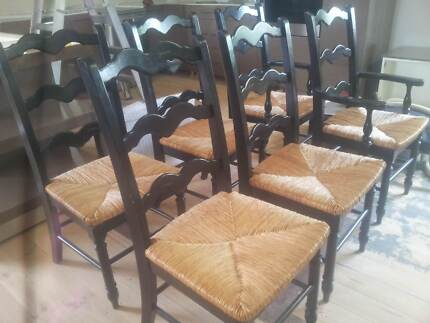 French Style Cherrywood Parquetry Table + 6 Ladderback Chairs Greenway Tuggeranong Preview