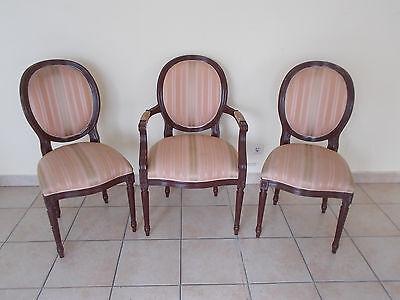 3 Stilmöbel Stühle Armlehnsessel armchair Stuhl Set